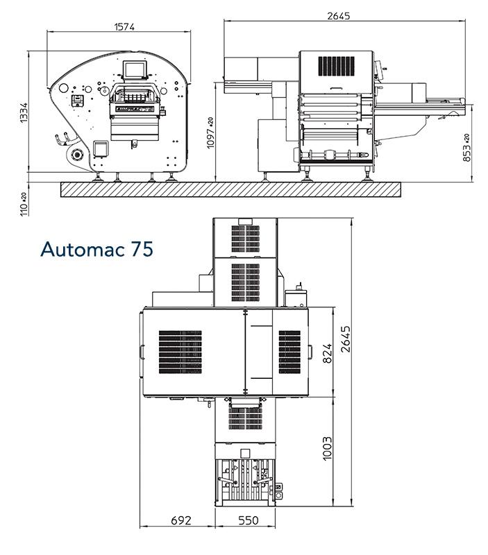 Automac75 - wymiary maszyny