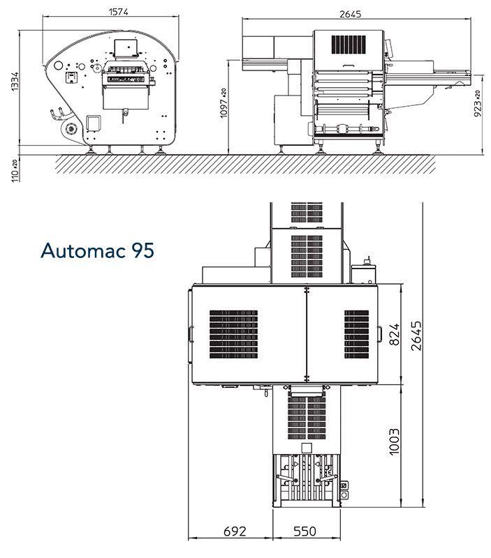 Automac95 - wymiary maszyny