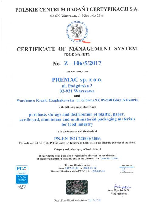 22000-IQnet Certyfikat Premac