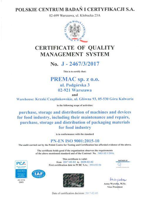 Certyfikat ISO 9001:2015-10 PREMAC